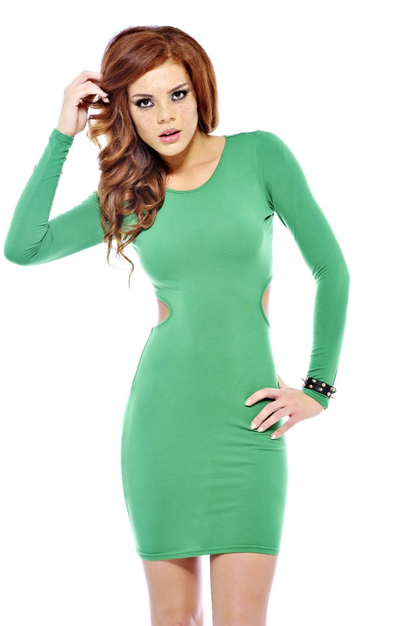 Party Dress - Green Long Sleeve Bodycon Dress | UsTrendy