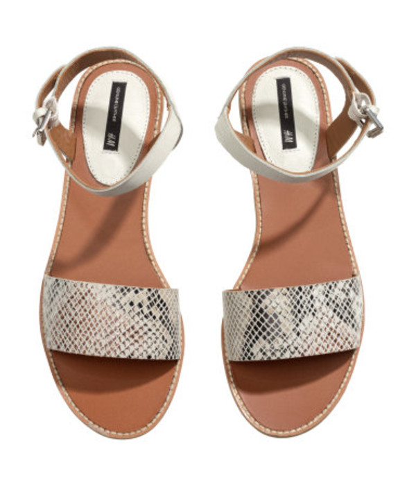 shoes sandals snake print one strap summer beach snake snake skin hipster h&m
