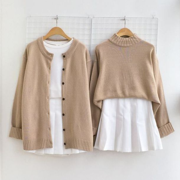 Sweater brown pinterest outfit button up sweater tan for White shirt brown buttons