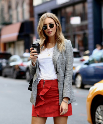 jacket ruffle skirt check blazer plaid plaid blazer skirt mini skirt red skirt ruffle t-shirt white t-shirt sunglasses