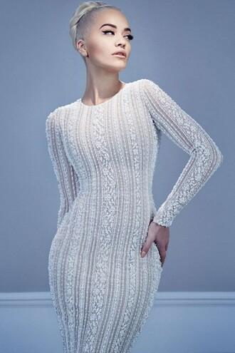dress lace dress long sleeve dress gown bodycon dress editorial rita ora