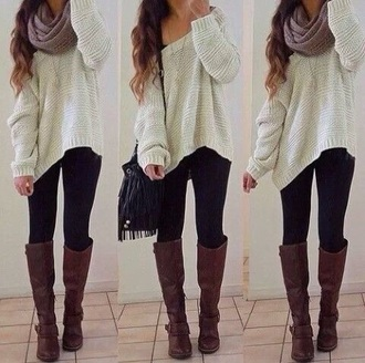 sweater hipster outfit autumn boots leggings soft boho jeans shoes