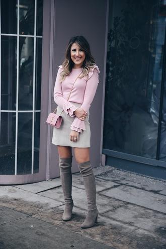skirt suede skirt mini skirt ruffle sweater blogger blogger style knee high boots crossbody bag