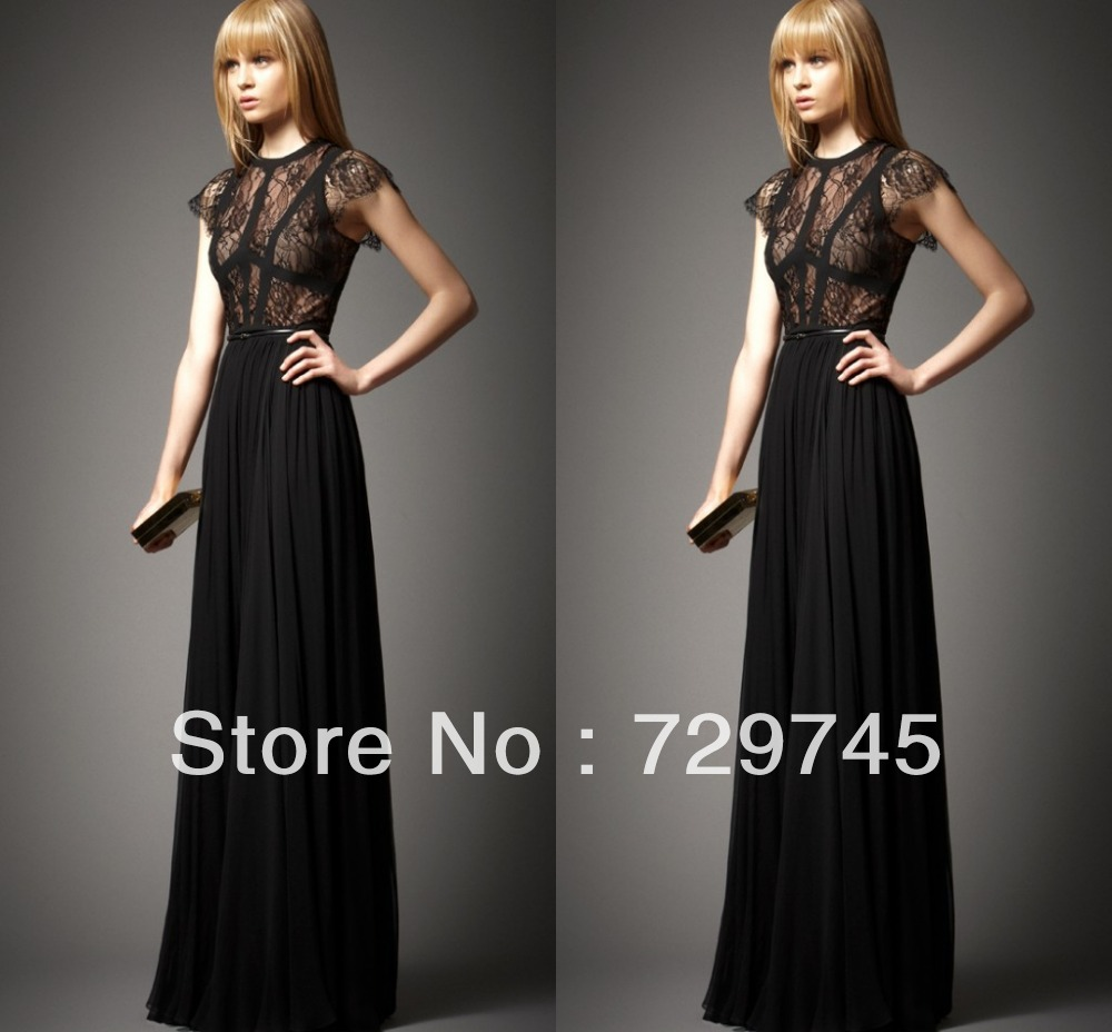 2014 New Taylor Swift Dress A Line Scoop Black Nude Tulle  Lace Elie Saab Floor Length Celebrity Dress Prom Dress-in Celebrity-Inspired Dresses from Apparel & Accessories on Aliexpress.com
