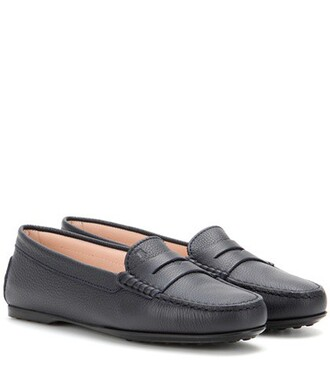 loafers leather blue shoes