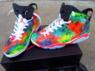 jordans high top sneakers multicolor galaxy shoes rainbow bikini sneakers shoes jordan retro 6