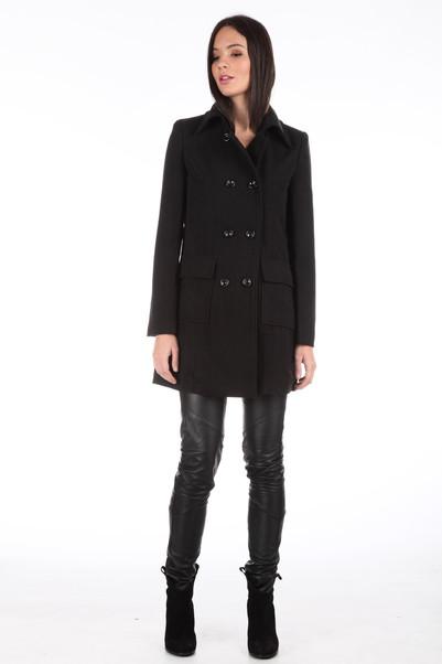 Manteau en laine manouk noir by monshowroom en promotion sur monshowroom.com