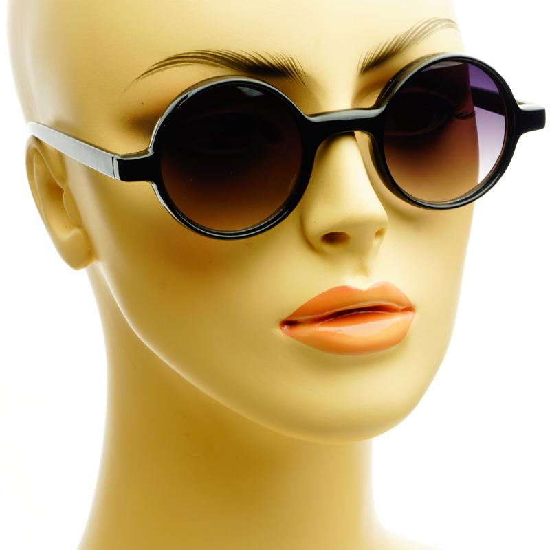 Small Thick Framed Celebrity Retro Vintage Style Circle Round Sunglasses Black | eBay