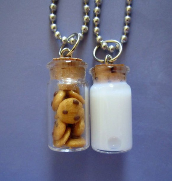 jewels necklace cute milk and cookies