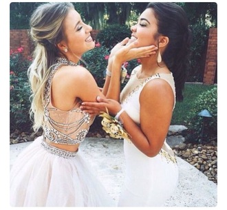 dress white sequinned jewelled  detailing two-piece dress tulle skirt prom dress homeoming dress formal dress floor-length long