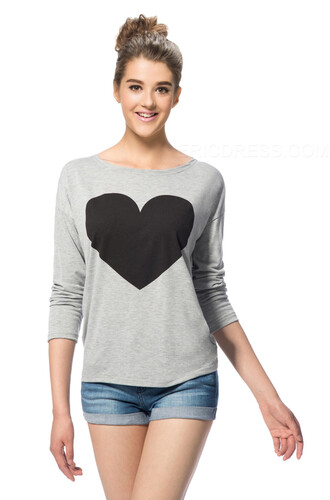 top bikini luxe loungewear graphic tee heart sweater long sleeve sleep shirt long sleeve tunic bikini luxe shirt grey bikiniluxe