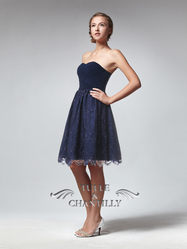 Dark Navy Sweetheart Ruched Bodice Bridesmaid Gown With Lace Skirt [TBQP243] - $175.00 : Custom Made Wedding, Prom, Evening Dresses Online | Tulle & Chantilly