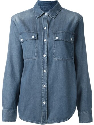 shirt denim shirt denim women cotton blue top