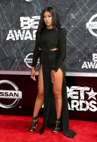 dress gown black dress slit dress all black everything sandals cut-out prom dress mila j bet awards cut-out dress