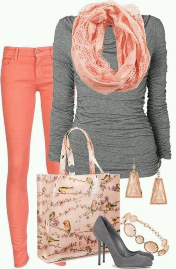 jeans coral denim jeans grey long sleeve grey shoes coral scarf blouse scarf bag jewels shoes shirt pink pants match jewelry long sleeves grey peach scarf peach pants purse colored jeans coral pants colored pants melon lady grey sweater dress top orage grey top sweater clothes orange earrings grey cute heels leggings t-shirt cardigan awsome grey shirt style back to school