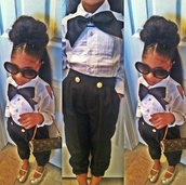 pants,girl,toddler,fashion,kids fashion,bow,bowtie,high waisted,blouse,bows,sunglasses,little diva