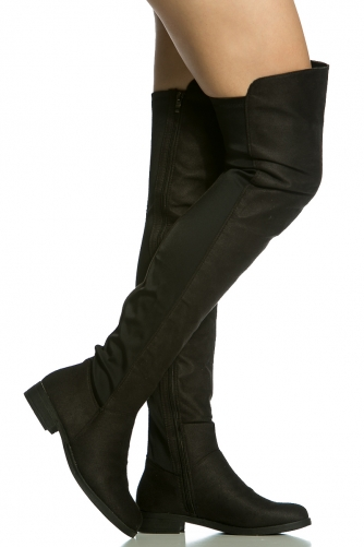 72ffd27cb8b Black Faux Suede Two Toned Thigh High Boots   Cicihot Boots Catalog women s  winter boots