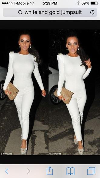 jumpsuit white jumpsuit gold long sleeves