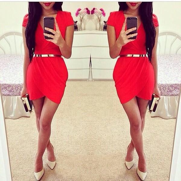 red dress silver belt sexy dress slit dress