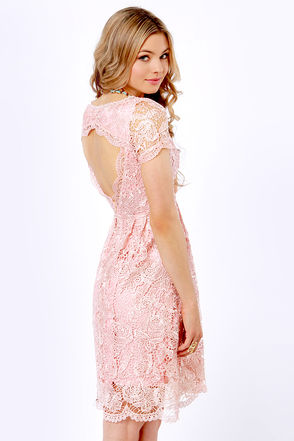 Breeze Backless Blush Pink Lace Dress