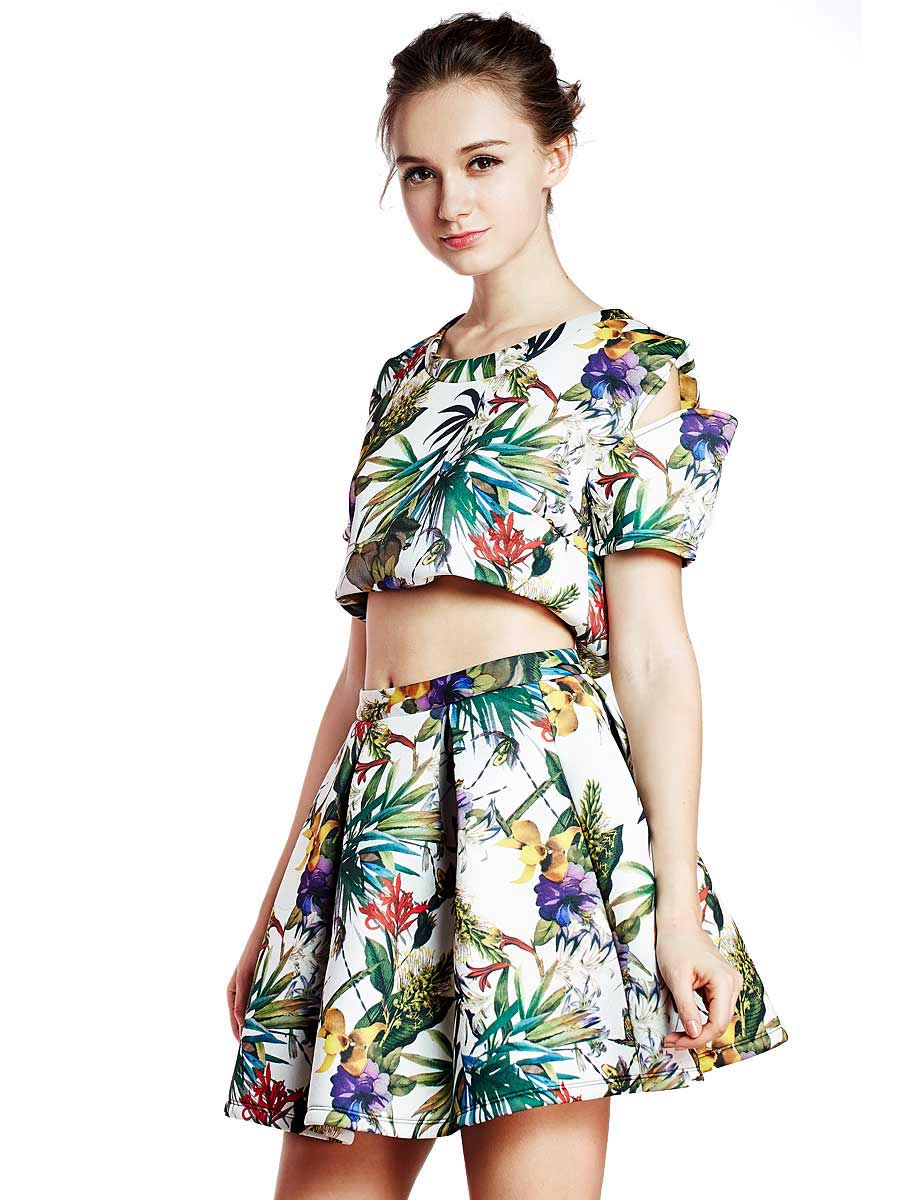 Choies Limited Edition Tropical Print Slip Sleeves Crop Top With High Waist Skate Skirt - Choies.com