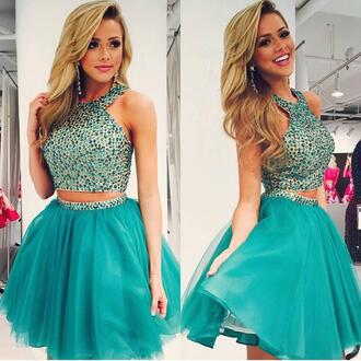 dress two-piece halter neck prom 2k15