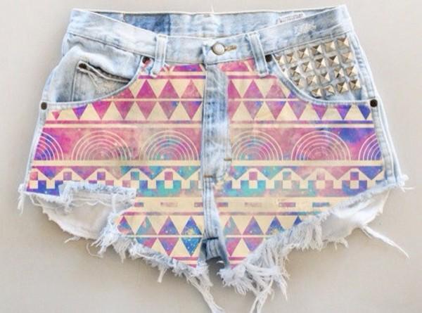 shorts pink blue light denim cut offs denim cutoffs cut off shorts cute aztec aztec studs