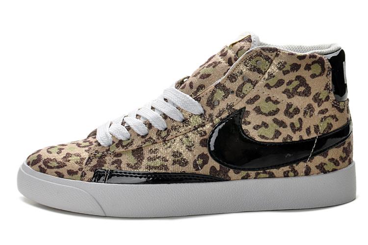 Nike Blazer High Tops Women Print Leopard Gold