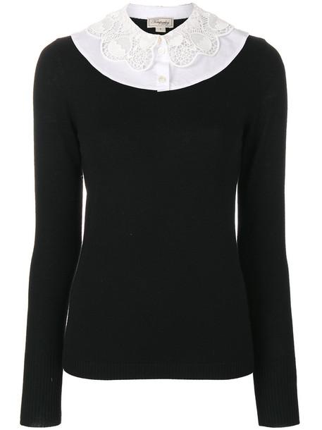 Temperley London jumper women cotton black sweater