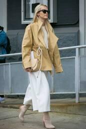 pants,white pants,cropped pants,sock boots,high heels boots,jacket,handbag,sunglasses