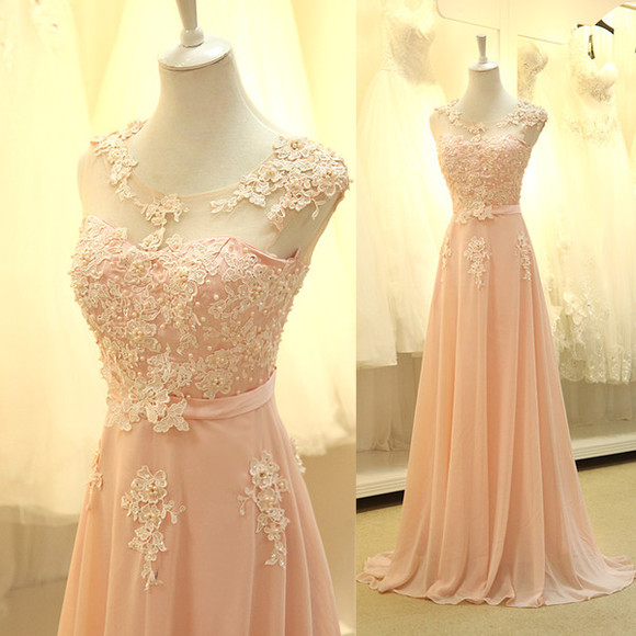 prom dress dress wedding dress wedding party dress lace long prom peach embroiled flower wedding  dress.