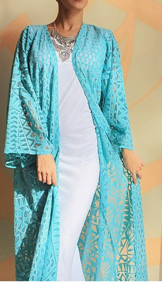cardigan blue kimono long kimono tribal cardigan tribal pattern turquoise chiffom summer sexy