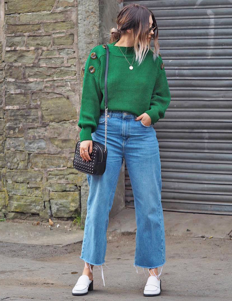 sweater tumblr green sweater knit knitwear knitted sweater denim jeans blue jeans cropped jeans bag