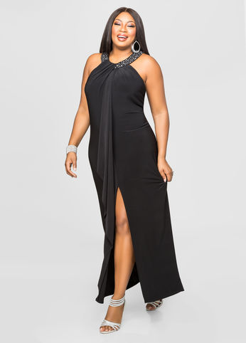 Beaded Halter Neck Gown-Plus Size Special Occasion Dress-Ashley ...
