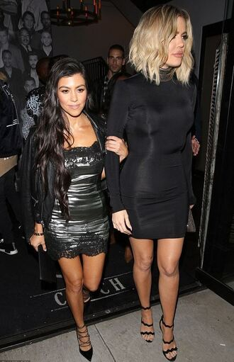 dress black dress mini dress bodycon dress metallic kourtney kardashian khloe kardashian kardashians sandals pumps long sleeve dress long sleeves bodycon little black dress celebrity celebrity style celebstyle for less keeping up with the kardashians cute dress girly dress classy dress winter dress fall dress birthday dress