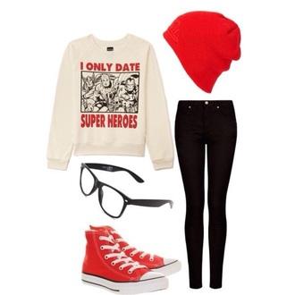 sweater red white nerd geek geek chic hipster hoodie comics marvel