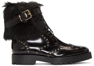 fur boots black shoes