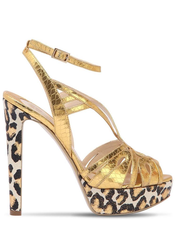 ERNESTO ESPOSITO 120mm Leopard Metallic Leather Sandals in gold
