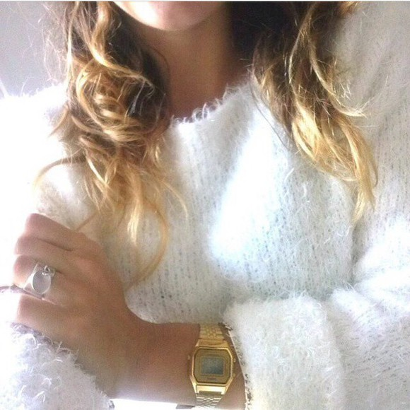 jewels watch gold top cute white sweater white sweater cute sweaters cute top casio watch Casio