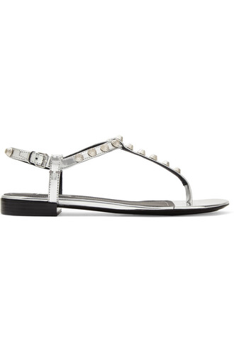 studded metallic sandals leather sandals leather silver shoes