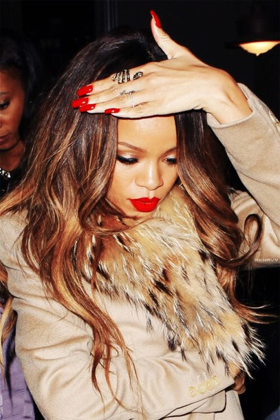 make-up red rihanna nails rihanna jewels