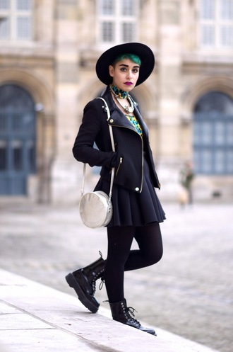 let's get flashy blogger hat skater skirt perfecto necklace grunge coat skirt top shoes jacket make-up
