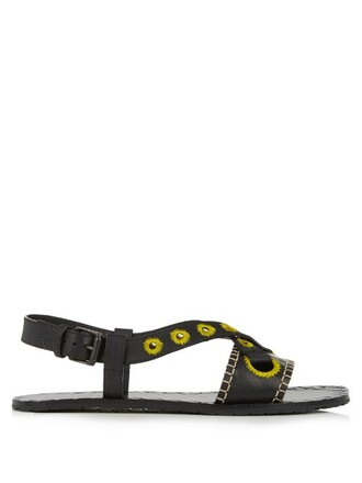embroidered sandals leather black yellow shoes