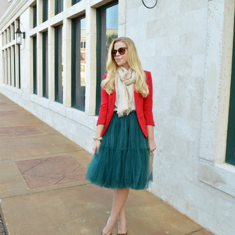 jewels scarf bag jacket red blogger fash boulevard tulle skirt red jacket scarf red