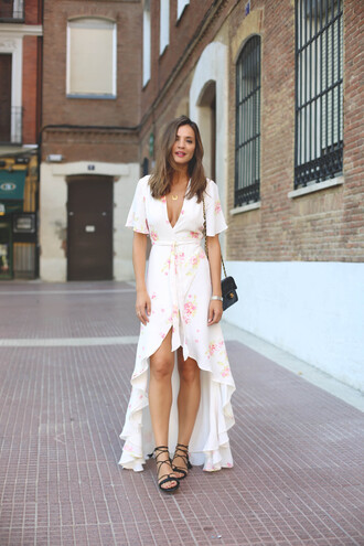 lady addict blogger dress shoes bag black bag chanel bag chanel white dress floral dress v neck dress asymmetrical lace up summer summer dress summer outfits date outfit lace up flats streetstyle