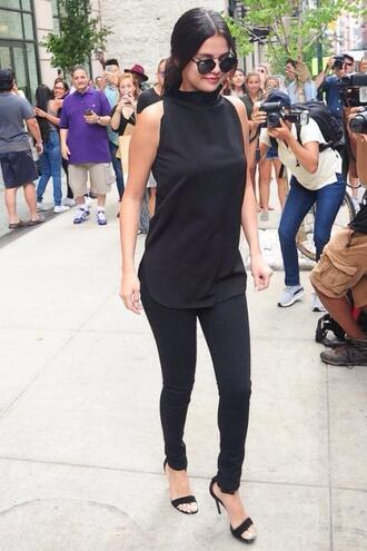 pants top selena gomez all black everything sunglasses sandals