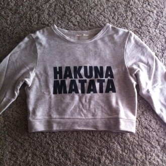 top crop tops the lion king hakuna matata grey black