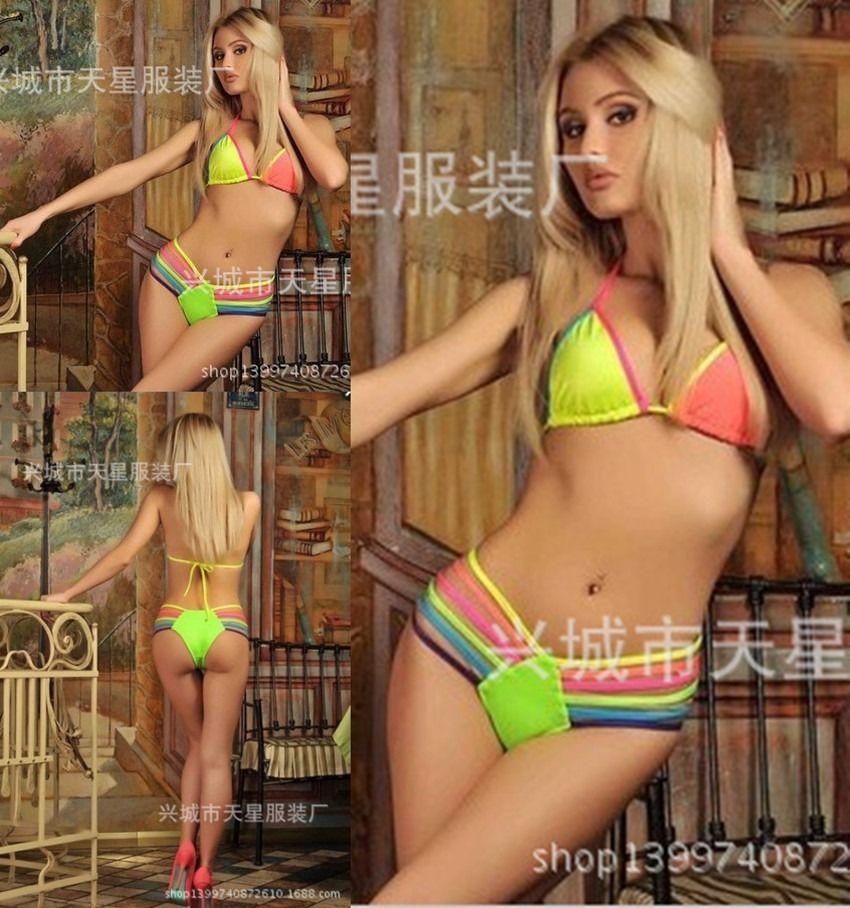 Strappy Swimsuit Neon Bandage Bikini SET Push UP Padded BRA Bathing Suit SJ3242 | eBay