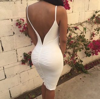 dress white dress backless white dress open back dresses fashion style