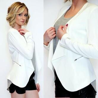 top jealous tomato blazer outerwear zip white blazer cropped blazer